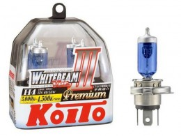 Комплект ламп Koito H4 12V 60/55W (135/125w) Whitebeam III Premium (2шт.)
