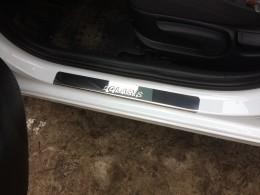 Накладки на пороги для Hyundai Solaris 2011-17 нерж. сталь