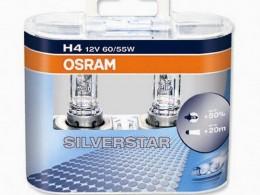 Комплект ламп Osram H4 12V 60/55W SILVERSTAR+50%