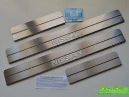 Накладки на пороги Nissan Note (ступенчатые) штамп